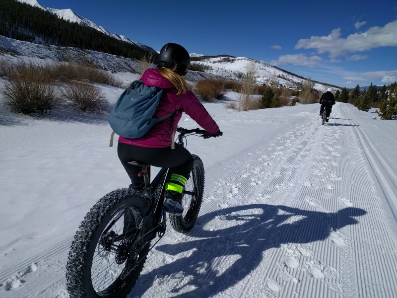 Ashley Fat Biking On Breckenridge Bike Path