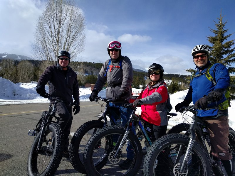 Mark, Shorty, Ashley & Larry Fat Biking In Breckenridge