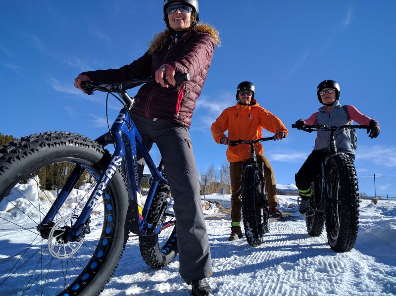 Shawna, Carver and Ashley Fat Biking in Breckenridge